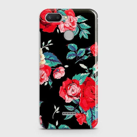 Xiaomi Redmi 6 Cover - Luxury Vintage Red Flowers Printed Hard Case with Life Time Colors Guarantee