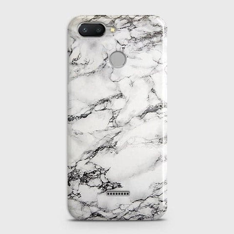 Xiaomi Redmi 6 Cover - Trendy White Floor Marble Printed Hard Case with Life Time Colors Guarantee