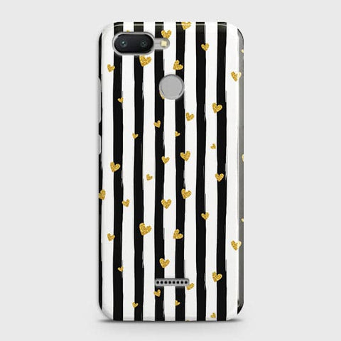Xiaomi Redmi 6 Cover - Trendy Black & White Strips With Golden Hearts Printed Hard Case with Life Time Colors Guarantee