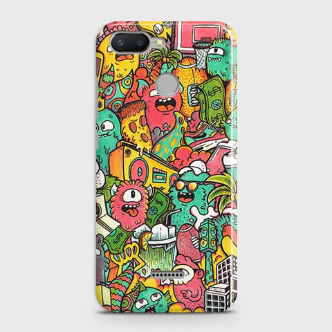 Xiaomi Redmi 6 Cover - Candy Colors Trendy Sticker Bomb Printed Hard Case with Life Time Colors Guarantee