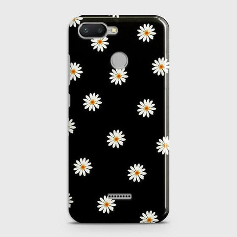 Xiaomi Redmi 6 Cover - White Bloom Flowers with Black Background Printed Hard Case with Life Time Colors Guarantee