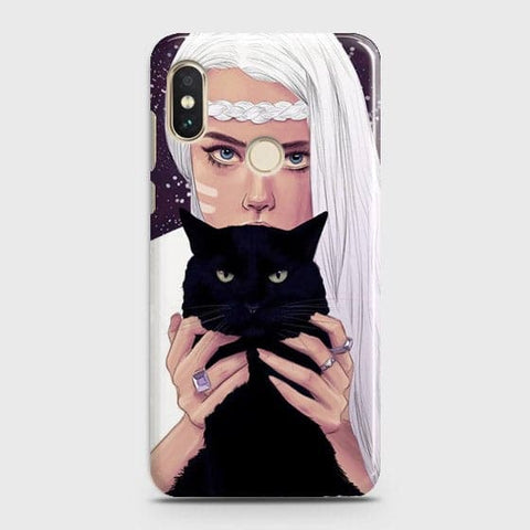 Xiaomi Redmi Note 6 Pro Cover - Trendy Wild Black Cat Printed Hard Case with Life Time Colors Guarantee
