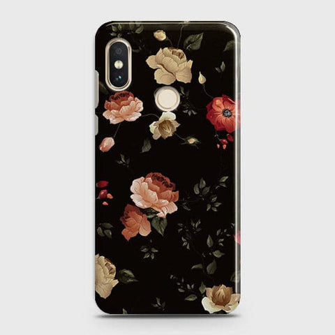 Xiaomi Redmi Note 6 Pro Cover - Dark Rose Vintage Flowers Printed Hard Case with Life Time Colors Guarantee
