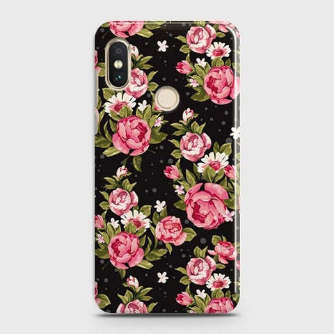 Xiaomi Redmi Note 6 Pro Cover - Trendy Pink Rose Vintage Flowers Printed Hard Case with Life Time Colors Guarantee