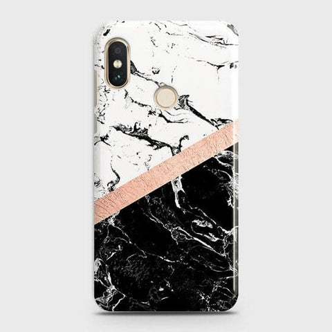 Xiaomi Redmi Note 6 Pro Cover - Black & White Marble With Chic RoseGold Strip Case with Life Time Colors Guarantee