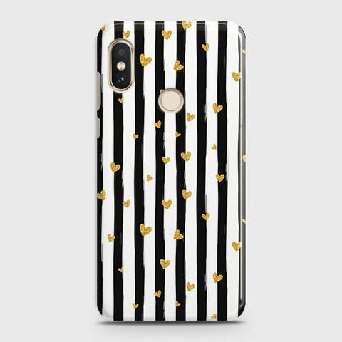 Trendy Black & White Strips With Golden Hearts Hard Case For Xiaomi Redmi Note 6 Pro