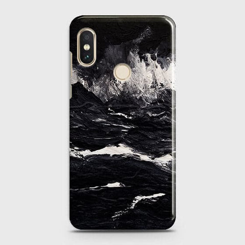 Xiaomi Redmi Note 6 Pro Cover - Black Ocean Marble Trendy Printed Hard Case with Life Time Colors Guarantee