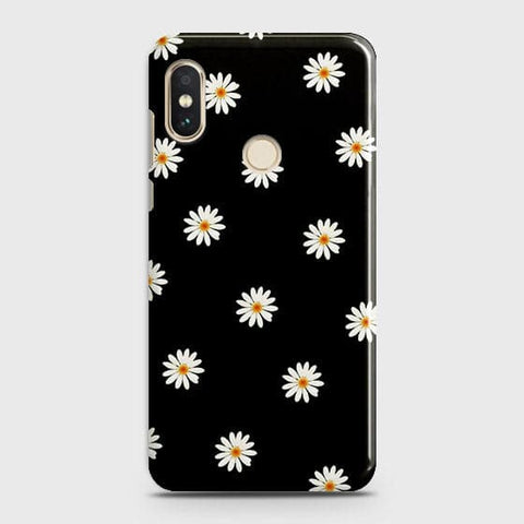 White Bloom Flowers with Black Background Case For Xiaomi Redmi Note 6 Pro