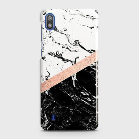 Printed Black & White Marble With Chic RoseGold Strip Case with Life Time Colors Guarantee For SAMSUNG GALAXY A10