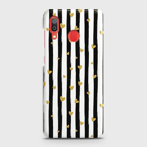 Trendy Black & White Strips With Golden Hearts Hard Case For SAMSUNG GALAXY A20