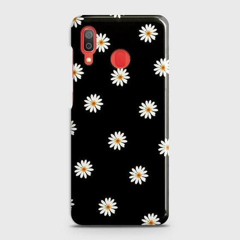 White Bloom Flowers with Black Background Case For SAMSUNG GALAXY A20