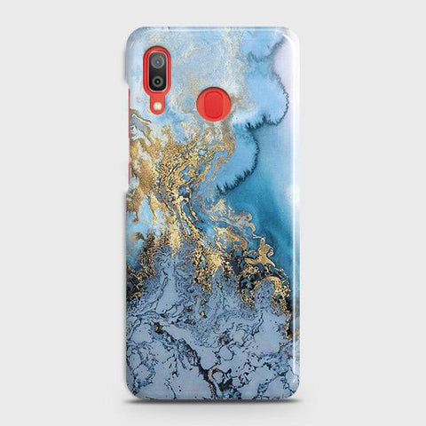 3D Trendy Golden & Blue Ocean Marble Case For SAMSUNG GALAXY A30