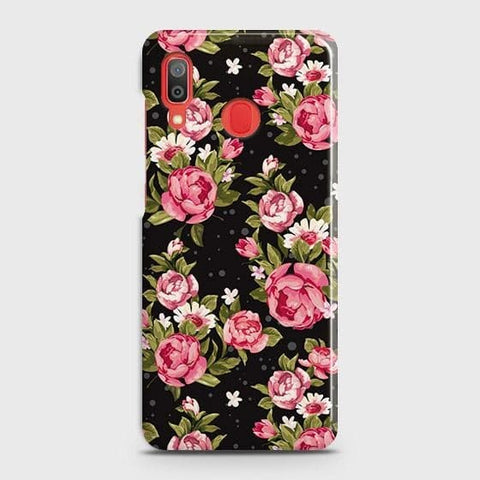 SAMSUNG GALAXY A30 Cover - Trendy Pink Rose Vintage Flowers Printed Hard Case with Life Time Colors Guarantee