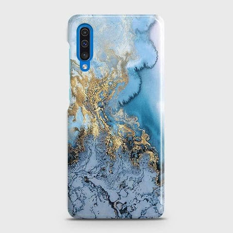 Samsung Galaxy A50 Cover - Trendy Golden & Blue Ocean Marble Printed Hard Case with Life Time Colors Guarantee