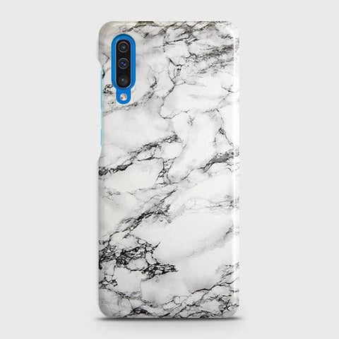 SAMSUNG GALAXY A50 Cover - Trendy White Floor Marble Printed Hard Case with Life Time Colors Guarantee