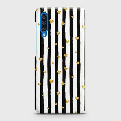 Trendy Black & White Strips With Golden Hearts Hard Case For SAMSUNG GALAXY A50