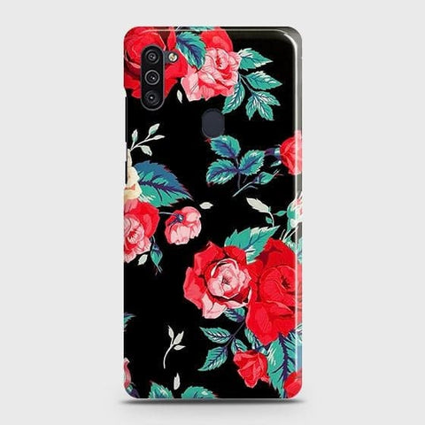 Samsung Galaxy A11 Cover - Luxury Vintage Red Flowers Printed Hard Case with Life Time Colors Guarantee