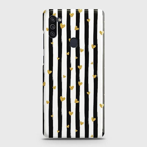 Samsung Galaxy A11 Cover - Trendy Black & White Strips With Golden Hearts Printed Hard Case with Life Time Colors Guarantee