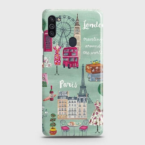 Samsung Galaxy A11 Cover - London, Paris, New York ModernPrinted Hard Case with Life Time Colors Guarantee