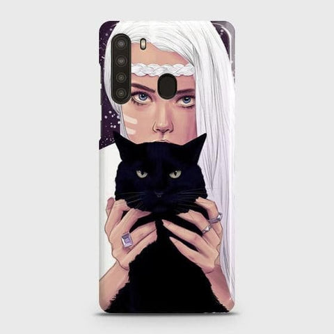 Samsung Galaxy A21 Cover - Trendy Wild Black Cat Printed Hard Case with Life Time Colors Guarantee