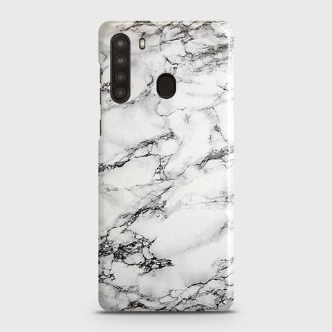 Samsung Galaxy A21 Cover - Trendy White Floor Marble Printed Hard Case with Life Time Colors Guarantee