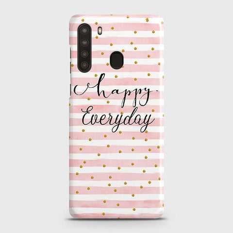 Samsung Galaxy A21 Cover - Trendy Happy Everyday Printed Hard Case with Life Time Colors Guarantee