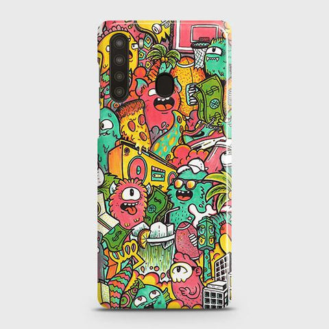 Samsung Galaxy A21 Cover - Candy Colors Trendy Sticker Bomb Printed Hard Case with Life Time Colors Guarantee