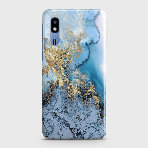 3D Trendy Golden & Blue Ocean Marble Case For Samsung Galaxy A2 Core