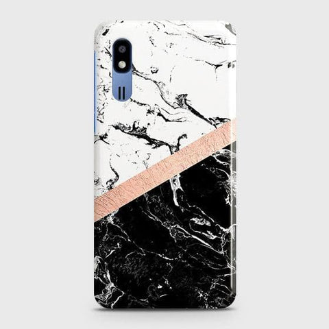 3D Black & White Marble With Chic RoseGold Strip Case For Samsung Galaxy A2 Core