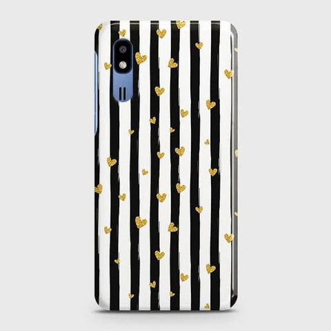Trendy Black & White Strips With Golden Hearts Hard Case For Samsung Galaxy A2 Core