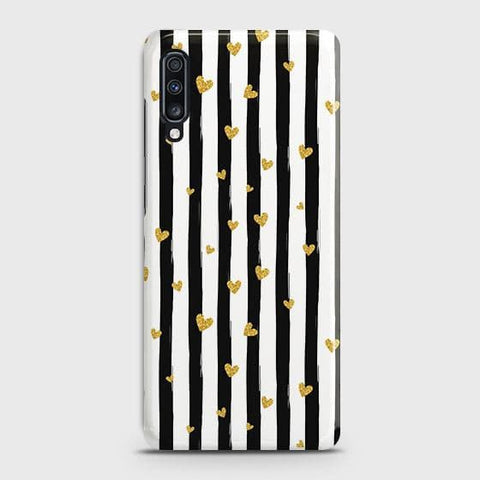 Trendy Black & White Strips With Golden Hearts Hard Case For Samsung Galaxy A70