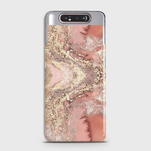 Trendy Chic Rose Gold Marble 3D Case For Samsung Galaxy A80