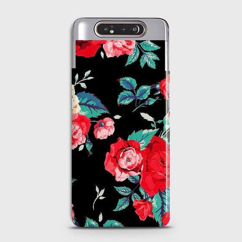 Luxury Vintage Red Flowers Case For Samsung Galaxy A80