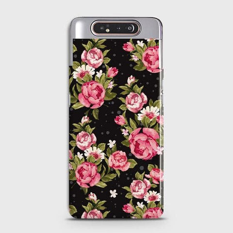 Trendy Pink Rose Vintage Flowers Case For Samsung Galaxy A80