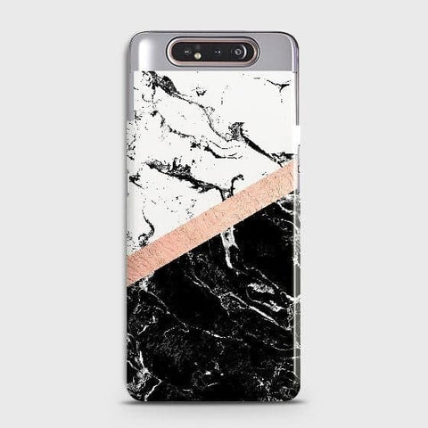 3D Black & White Marble With Chic RoseGold Strip Case For Samsung Galaxy A80