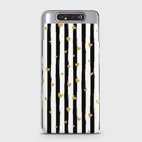 Trendy Black & White Strips With Golden Hearts Hard Case For Samsung Galaxy A80