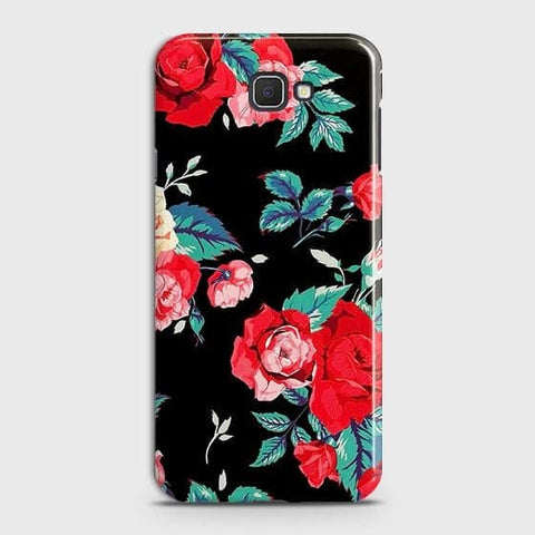 Samsung Galaxy J4 Core Cover - Luxury Vintage Red Flowers Printed Hard Case with Life Time Colors Guarantee