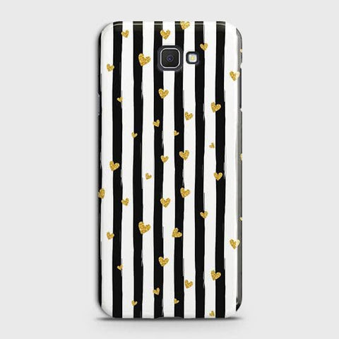 Samsung Galaxy J4 Core Cover - Trendy Black & White Strips With Golden Hearts Printed Hard Case with Life Time Colors Guarantee