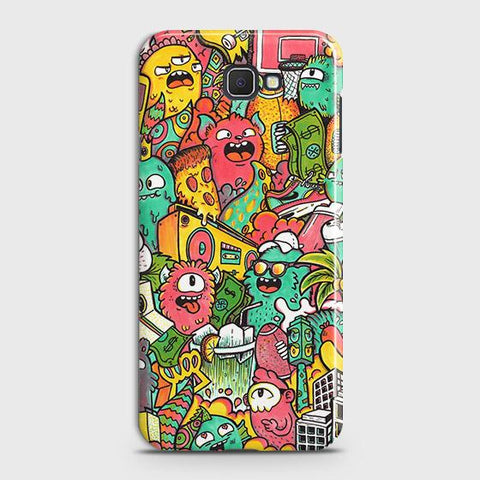 Samsung Galaxy J4 Core Cover - Candy Colors Trendy Sticker Bomb Printed Hard Case with Life Time Colors Guarantee