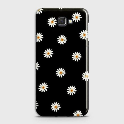Samsung Galaxy J4 Core Cover - White Bloom Flowers with Black Background Printed Hard Case with Life Time Colors Guarantee