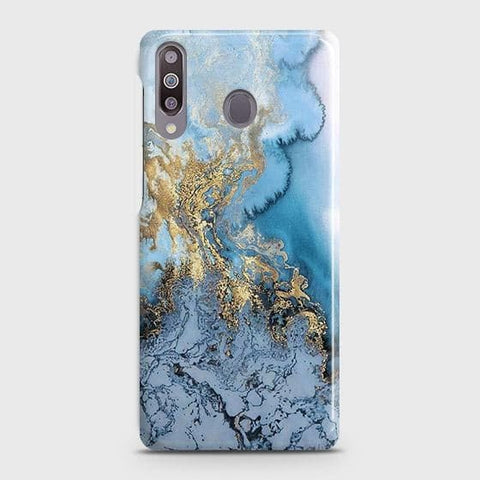 Samsung Galaxy M30Cover - Trendy Golden & Blue Ocean Marble Printed Hard Case with Life Time Colors Guarantee
