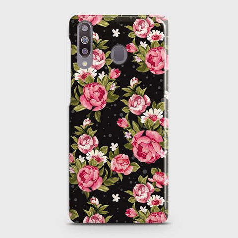 Samsung Galaxy M30 Cover - Trendy Pink Rose Vintage Flowers Printed Hard Case with Life Time Colors Guarantee