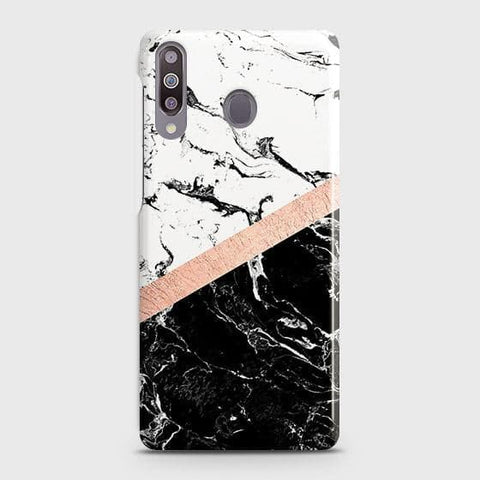 Printed Black & White Marble With Chic RoseGold Strip Case with Life Time Colors Guarantee For Samsung Galaxy M30