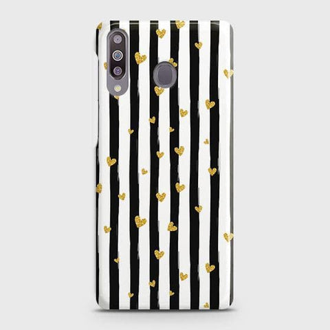 Trendy Black & White Strips With Golden Hearts Hard Case For Samsung Galaxy M30