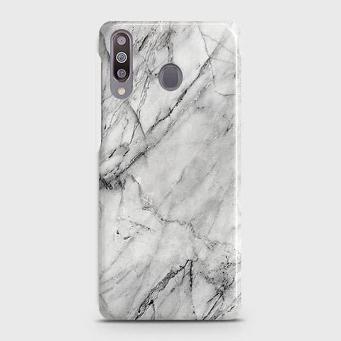 Samsung Galaxy M30 Cover - Trendy White Floor Marble Printed Hard Case with Life Time Colors Guarantee