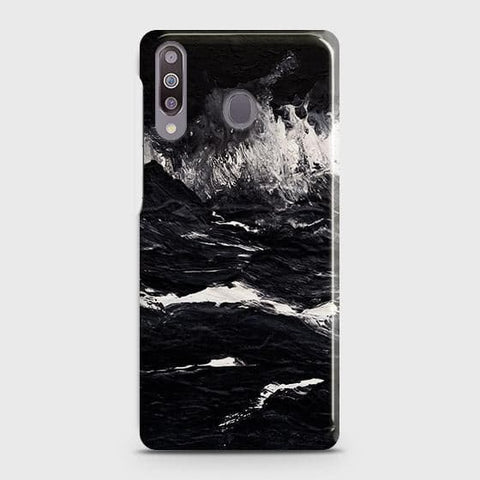 Samsung Galaxy M30 Cover - Black Ocean Marble Trendy Printed Hard Case with Life Time Colors Guarantee