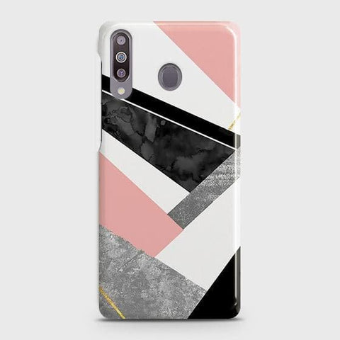 Samsung Galaxy M30 Cover - Geometric Luxe Marble Trendy Printed Hard Case with Life Time Colors Guarantee