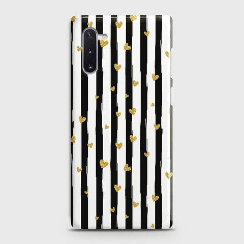Trendy Black & White Strips With Golden Hearts Hard Case For Samsung Galaxy Note 10