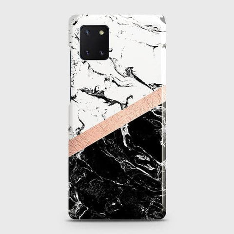 3D Black & White Marble With Chic RoseGold Strip Case For Samsung Galaxy Note 10 Lite