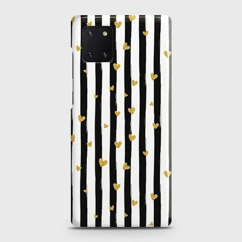 Trendy Black & White Strips With Golden Hearts Hard Case For Samsung Galaxy Note 10 Lite